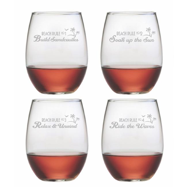 Beach Rules Stemless Wine Glass Assortment S/4