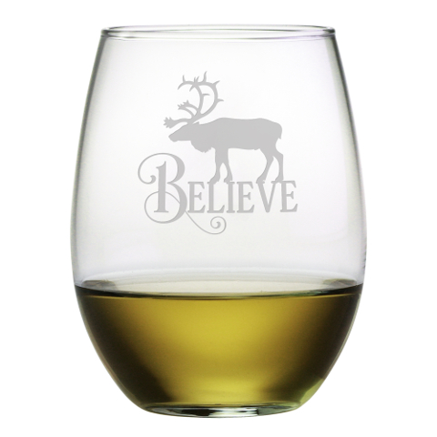 Believe Reindeer Stemless Wine Glasses (set of 4)