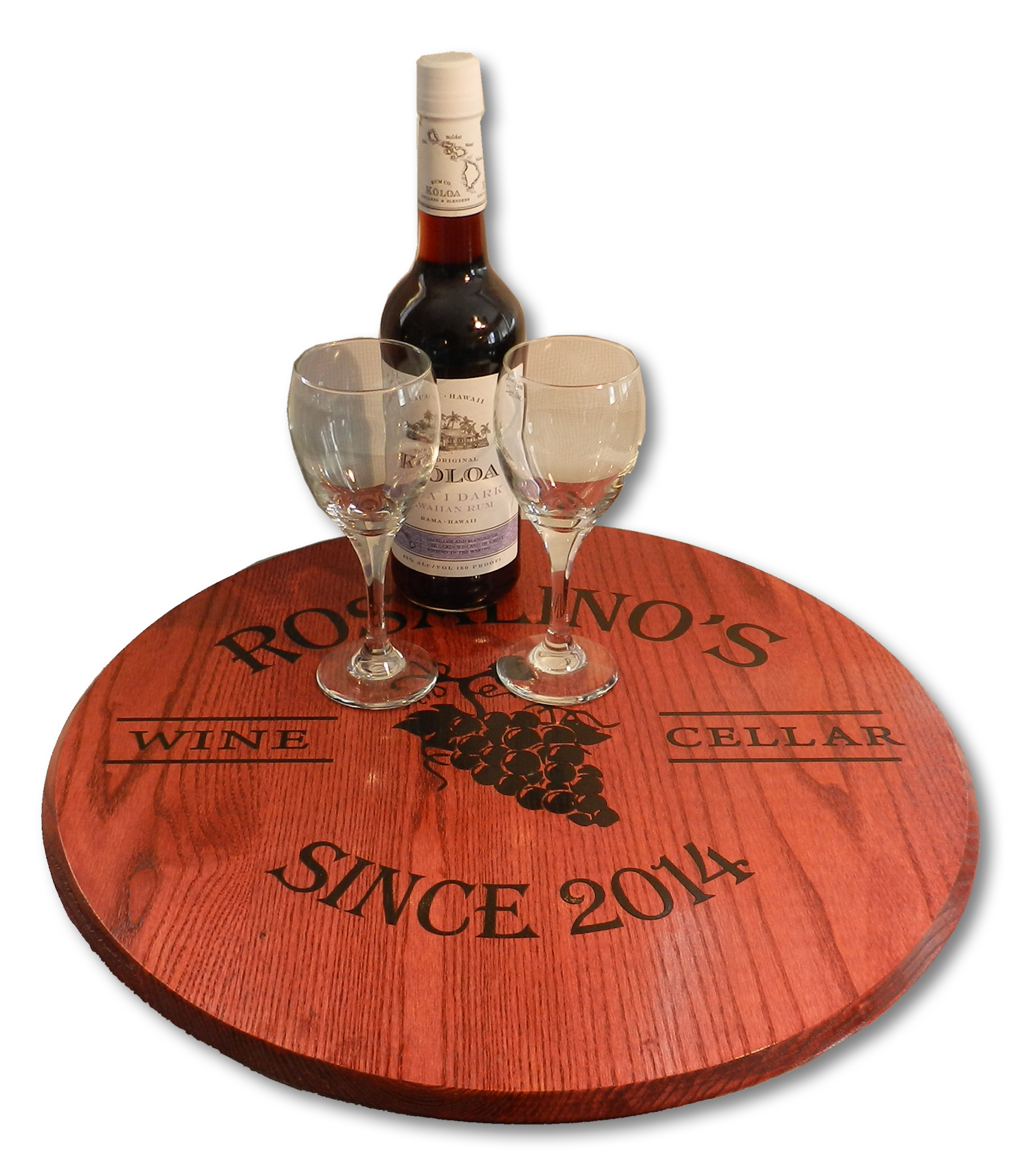 Personalized Wine Cellar Wine Barrel Head Lazy Susan