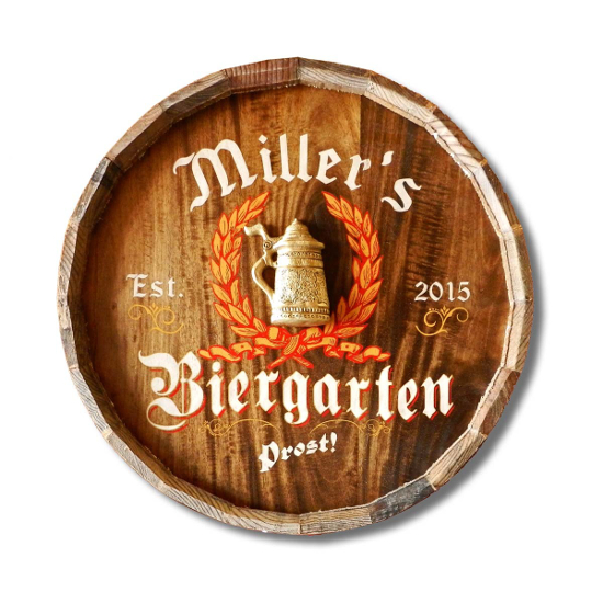Biergarten Personalized Quarter Barrel Sign