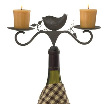 Birds and Bees Bottle Candle Holder