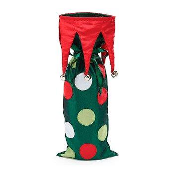 Polka Dotted Holiday Wine Bottle Bag