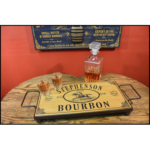 Bourbon Personalized Wooden Serving Tray