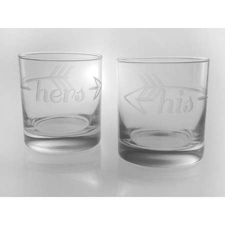 Bridal Etched His and Hers On the Rocks Glasses (set of 2)