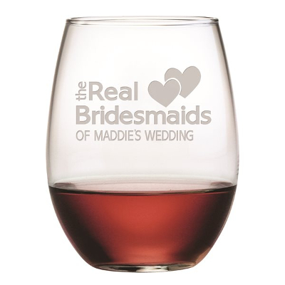 The Real Bridesmaids Etched Stemless Wine Glasses (set of 4)