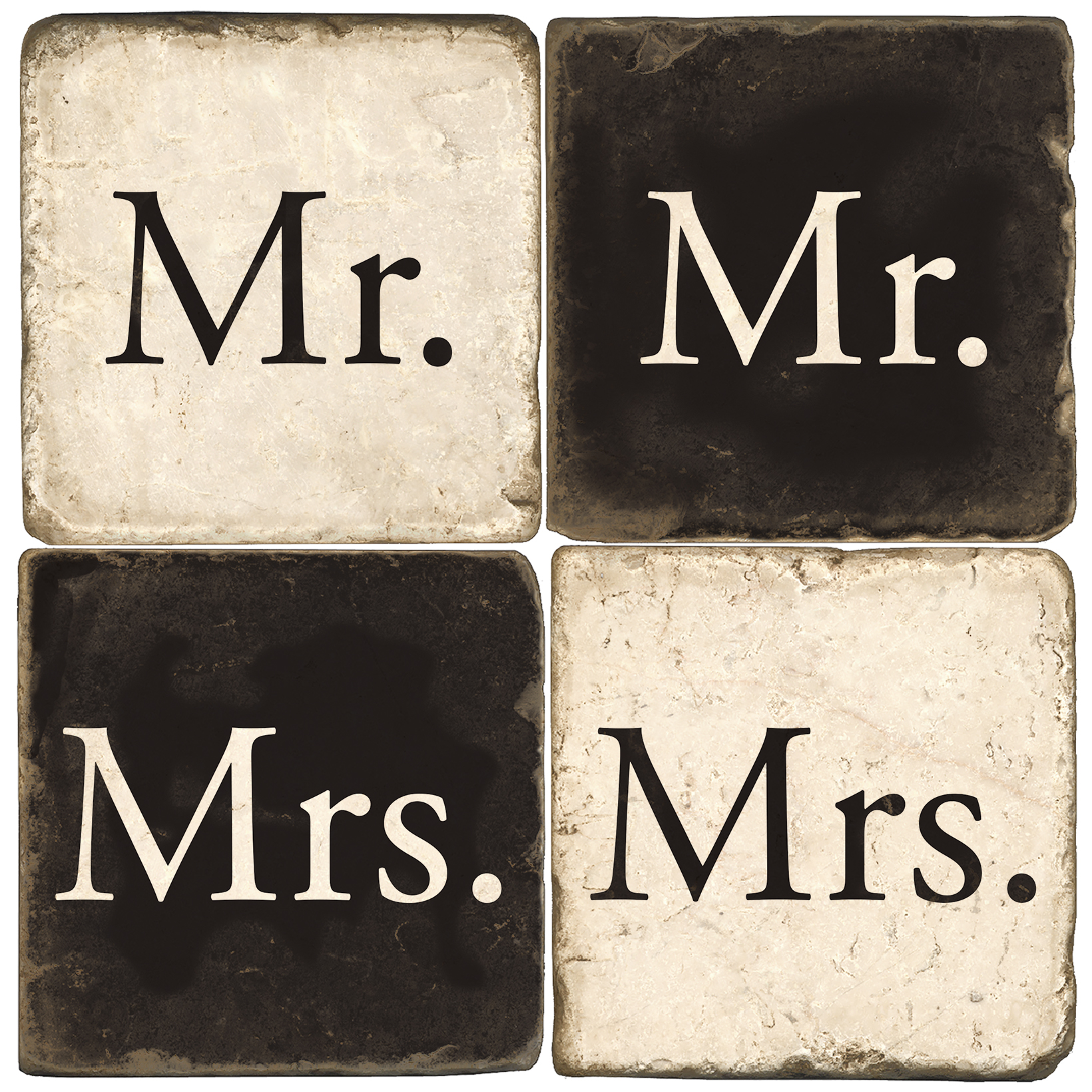 Mr and Mrs Italian Marble Coasters - Black and White