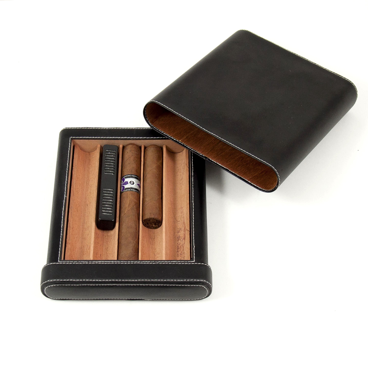 Black Leather 5 Cigar Case