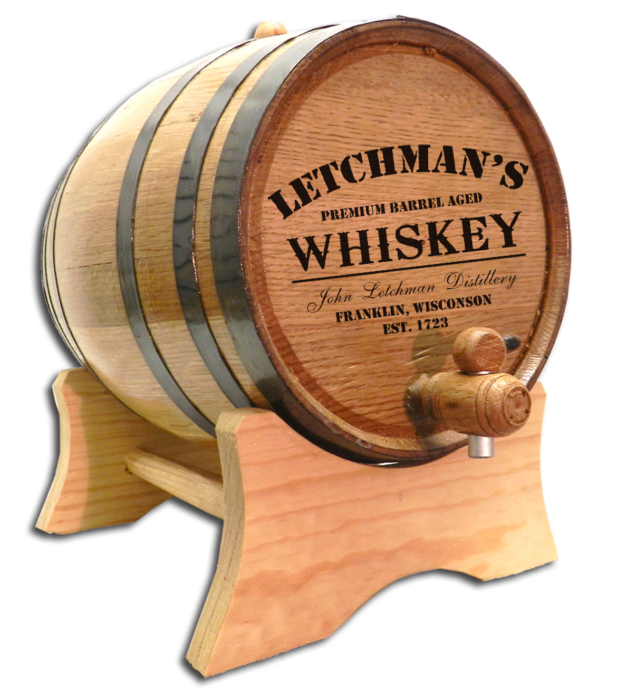 'Whiskey Design' Personalized Oak Barrel