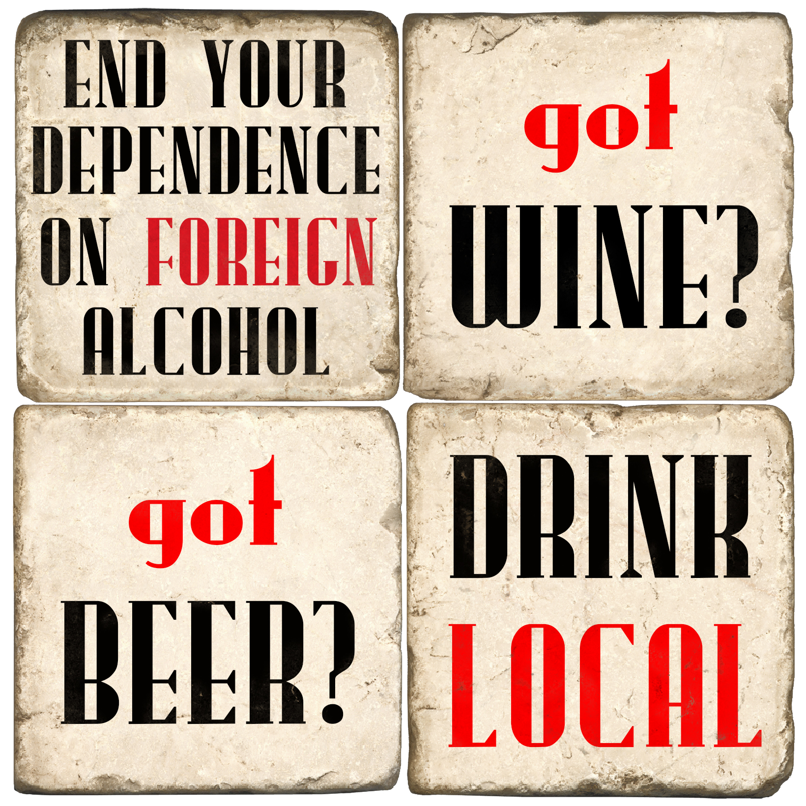 Drink Local Italian Marble Coasters