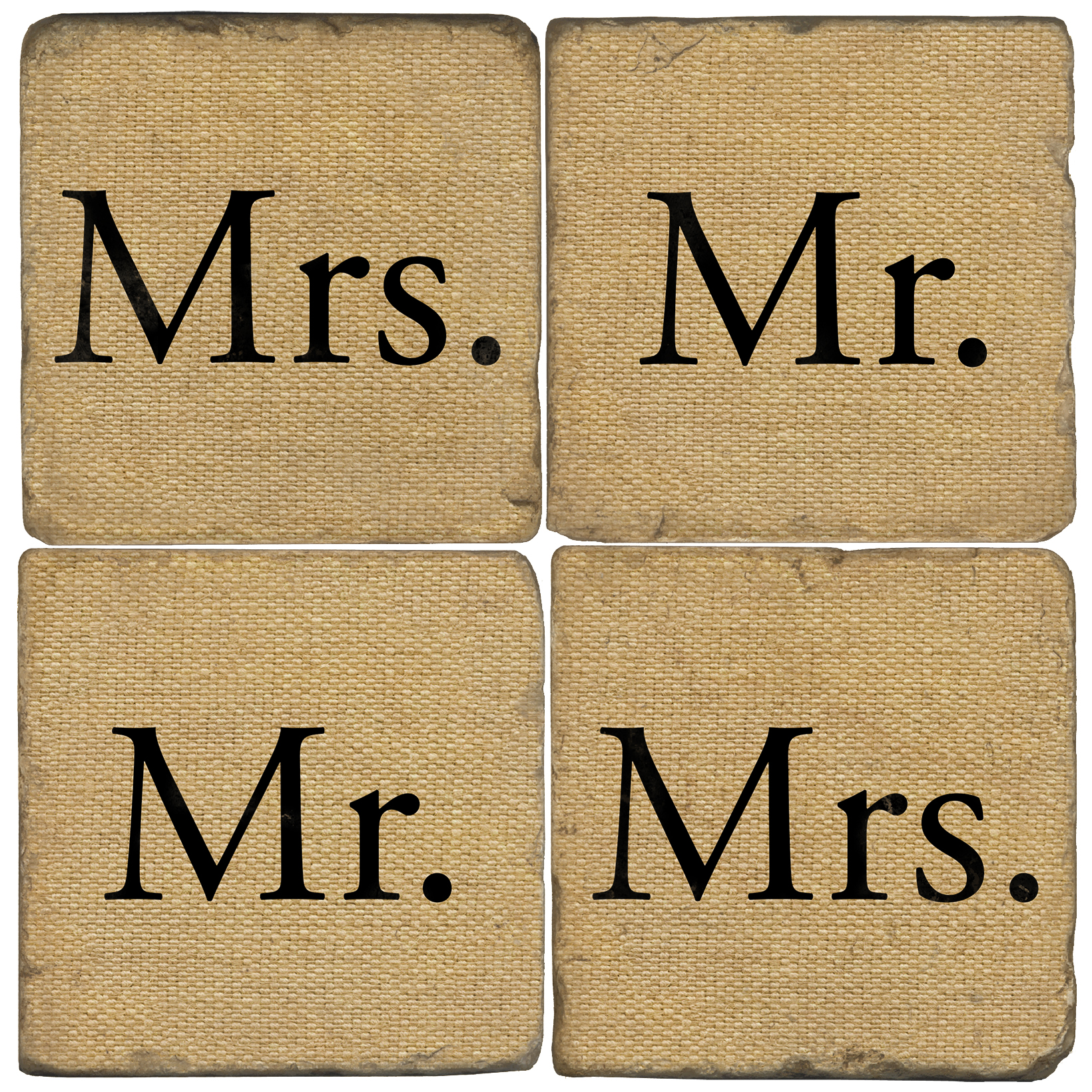 Mr and Mrs Italian Marble Coasters