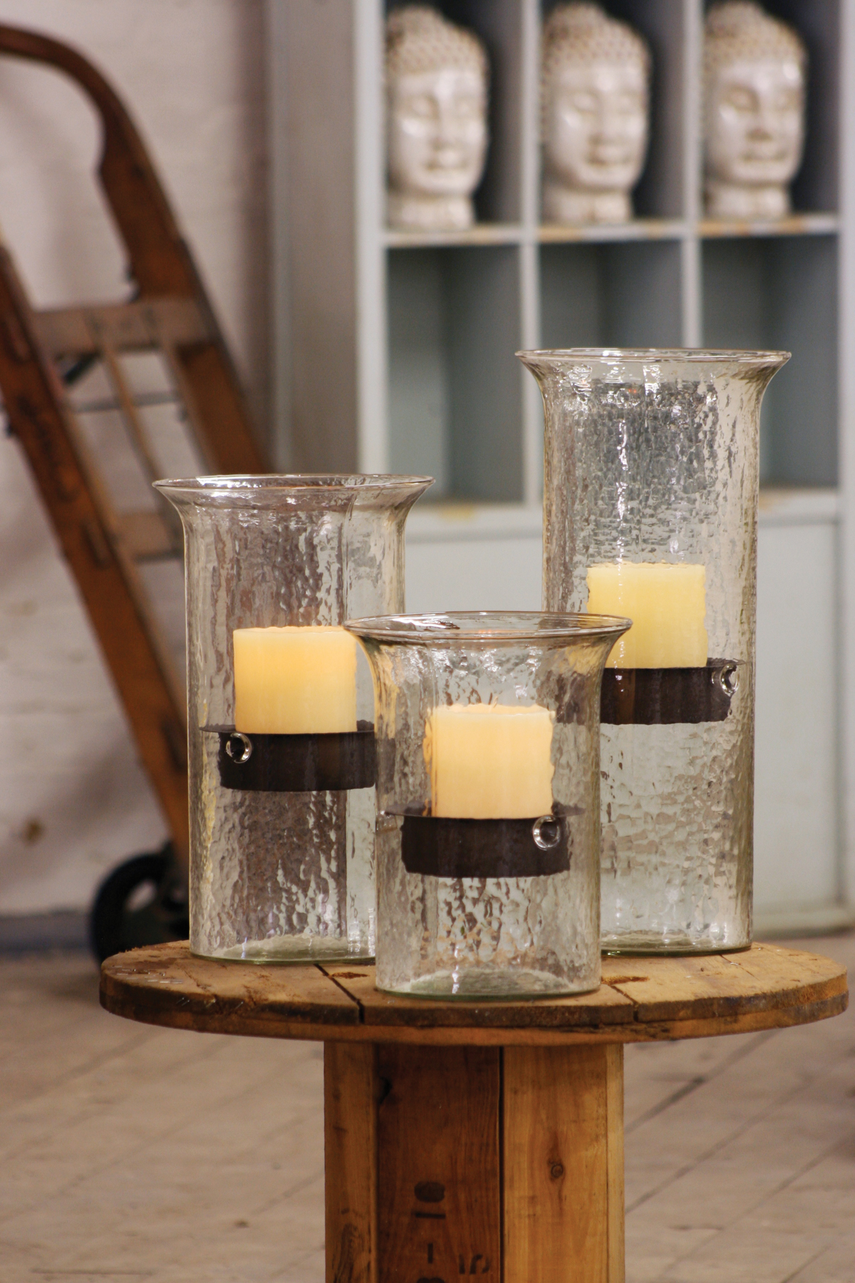 Glass Candle Cylinder with Rustic Insert