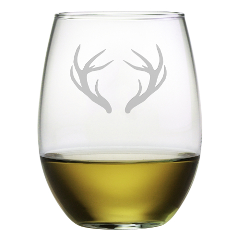 Caribou Antlers Stemless Wine Glasses (set of 4)
