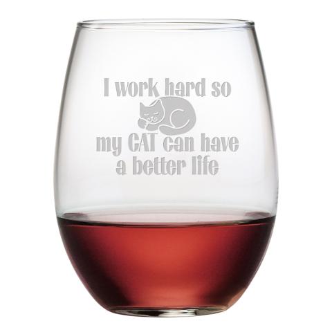 Cat Better Life Stemless Wine Glasses (set of 4)