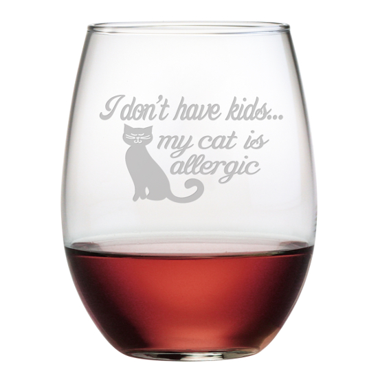 Cat Is Allergic Stemless Wine Glasses (set of 4)