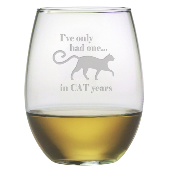 Cat Years Stemless Wine Glasses (set of 4)