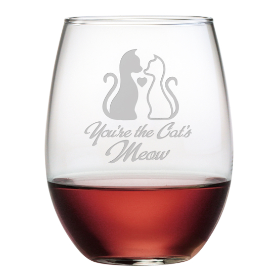 You're The Cat's Meow Stemless Wine Glasses (set of 4)