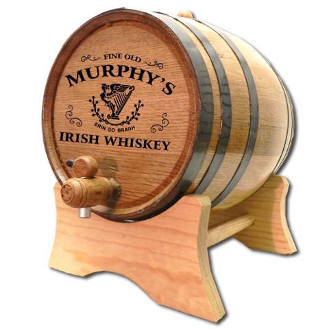 Personalized Celtic Harp Oak Aging Barrel