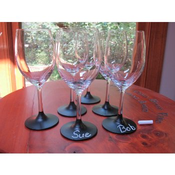 Chardonnay Glasses with Chalk Board Bottom