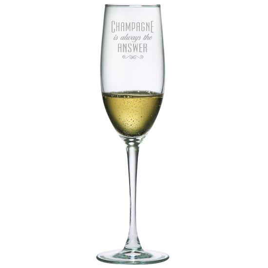 Champagne Is Always The Answer Champagne Flutes (set of 4)