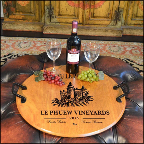 Personalized Barrel Head Serving Tray with Chateau