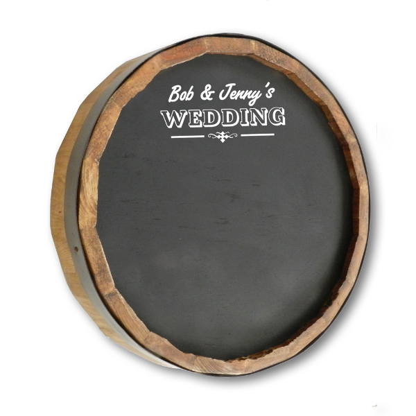 Wedding Chalkboard Quarter Barrel Sign, Personalized