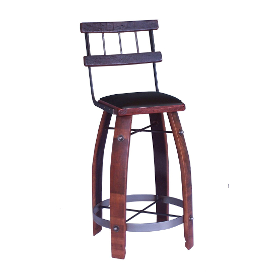 """Wood Stave Stool with Back and Chocolate Leather Seat, 28"""""""
