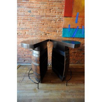 Clam Shell Barrel Bistro Table with Metal Top