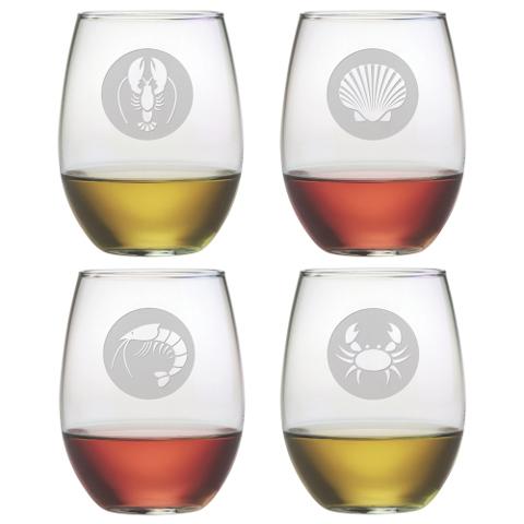 Clambake Circles Stemless Wine Glasses (set of 4)