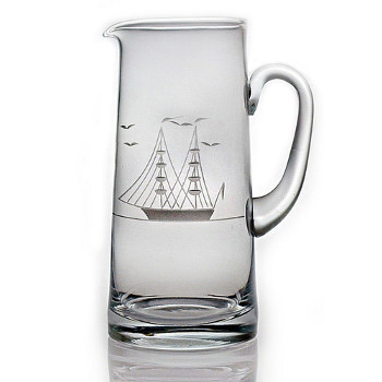 Clipper Ship Etched Tankard Pitcher
