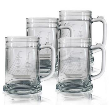 Clipper Ship Tankard Beer Mugs  (set of 4)