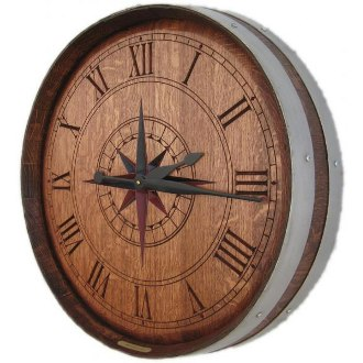 Personalized Carved Barrel Head Clock, Compass Rose