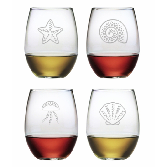 Coastal Treasures Stemless Wine Glass Set