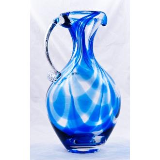 Blenko Glass Cobalt Swirl Pitcher