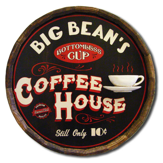 Coffee House Personalized Quarter Barrel Sign