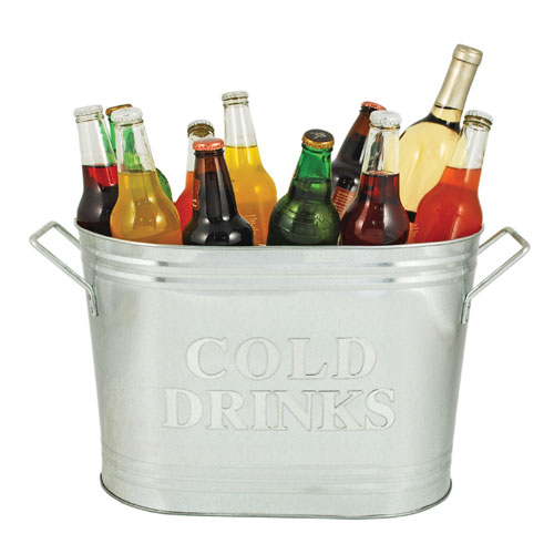 Cold Drinks Galvanized Ice Bucket