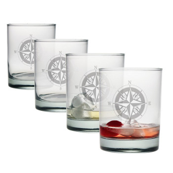 Compass Drink on Rocks Glasses (set of 4)