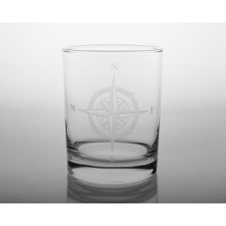 Compass Rose Double Old Fashioned Glasses (set of 4)