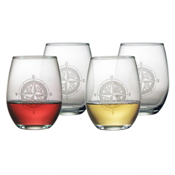 Compass Stemless Wine Glasses (set of 4)