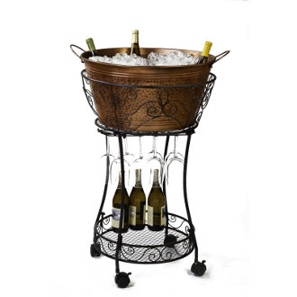 Hammered Copper Chiller with Wine Glass and Bottle Storage