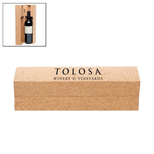 Cork Wine Bottle Box with Company Logo (Set of 36)