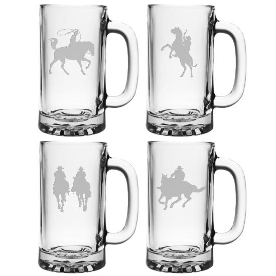 Cowboys Assortment Pub Beer Mugs (set of 4)