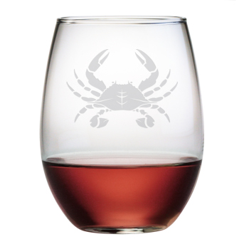 Crab Stemless Wine Glasses (set of 4)