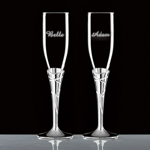 Lenox Personalized Crystal Silverplate Adorn Toasting Flutes (set of 2)