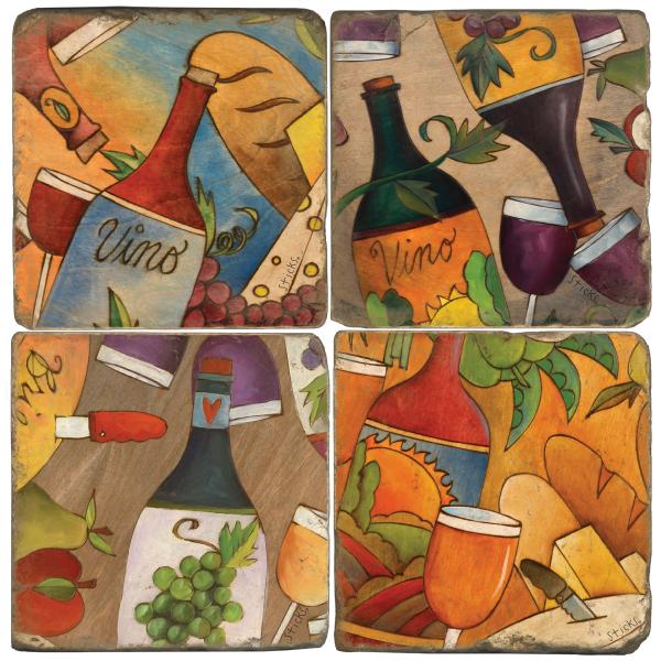 Food and Wine 2 Italian Marble Coasters