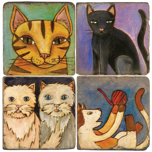 Cat Lovers Italian Marble Coasters