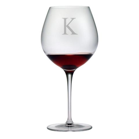 Customized Single Letter Burgundy Glasses (set of 4)