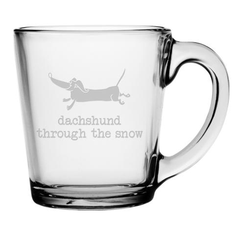 Dachshund Through The Snow Glass Mugs (set of 4)