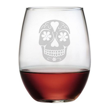 Day Of The Dead Etched Stemless Wine Glass Set