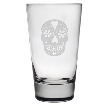 Day Of The Dead Etched Hiballs Glass Set