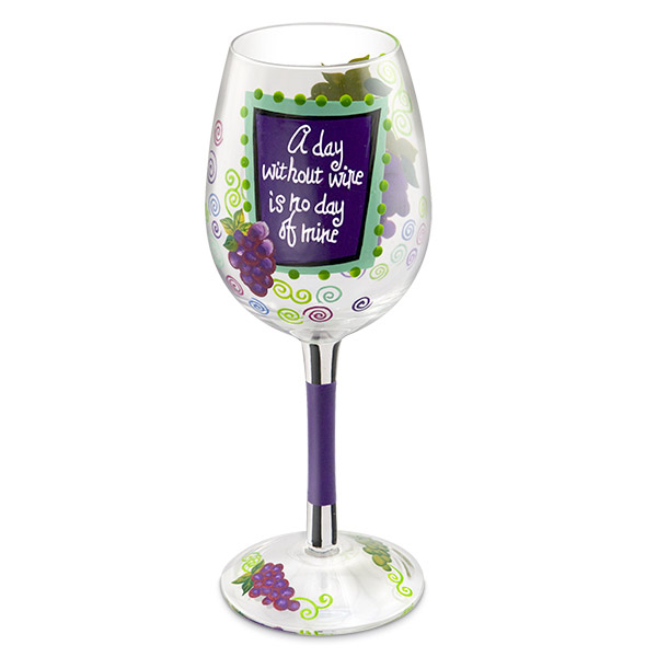 A Wine Day Hand-Decorated Wine Glass
